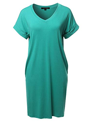 Solid Short Sleeve Stretchy Loose fit V-Neck Tunic Dress Ash Mint Size XL
