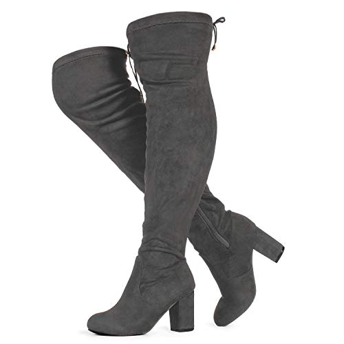 RF ROOM OF FASHION Women's Wide Calf Over The Knee Chunky Heel Stretch Boots Grey SU Size.9