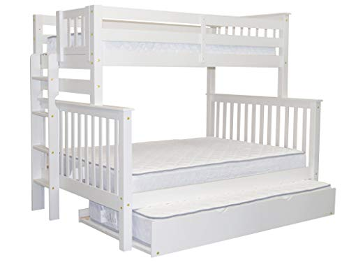 Cheap Bedz King Bunk Beds Twin over Full Mission Style with End Ladder and a Twin Trundle, White