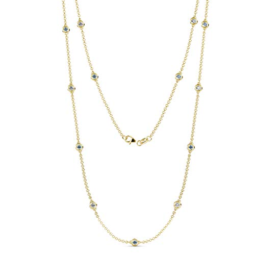 TriJewels 13 Station Aquamarine & Diamond on the Cable Necklace 1.16 ctw 14K Yellow Gold.18 Inches ()
