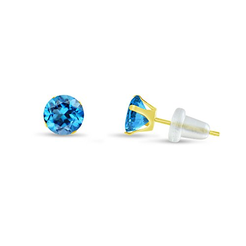 Gold Genuine Swiss (Round 3mm 10k Yellow Gold Genuine Swiss Blue Topaz Stud Earrings, December Birthstone, (0.22 cttw))