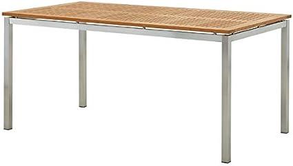 Amazon De Ass Edelstahl Teak Gartentisch 160x90 Cm Holztisch Esstisch Tisch Massive Ausfuhrung A Grade Teakholz Modell Kuba