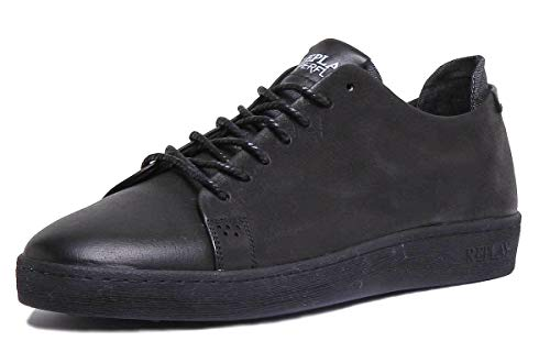 (Replay Men's Wharm Hyperflex Leather Sneakers Black in Size US 10)