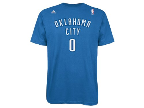 Russell Westbrook Oklahoma City Thunder Blue adidas Net Name and Number T-shirt Small