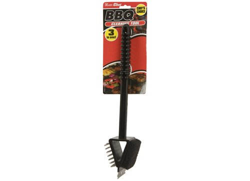 THREE IN ONE BBQ BARBECUE CLEANING TOOL BRUSH SCRAPER Mister Chef