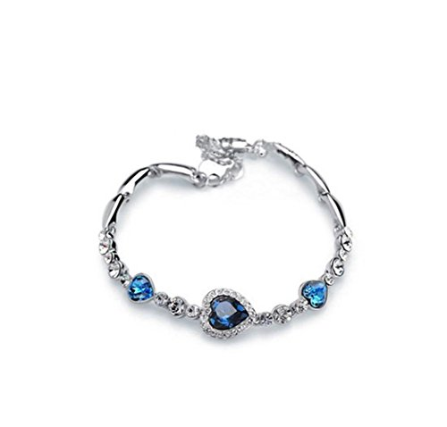 Inlaid Gold Plated Clasp (Heart of Ocean Crystal Korean Jewelry Accessories Bracelet Diamond Accented Heart Hematite Bracelet Women Gift(blue lake ))