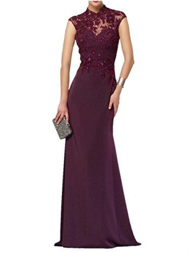 Langes Kleider Burgundy Elegant mia La Brautmutterkleider Abendkleider Brau Jugendweihe Formalkleider Partykleider Chifon Spitze xFXEzg7