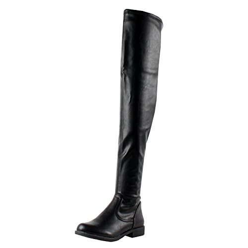 BAMBOO Montana-53 Women's Stretch Side Zipper Snug Fit Thigh High Riding Boots,Black Pu,10 -