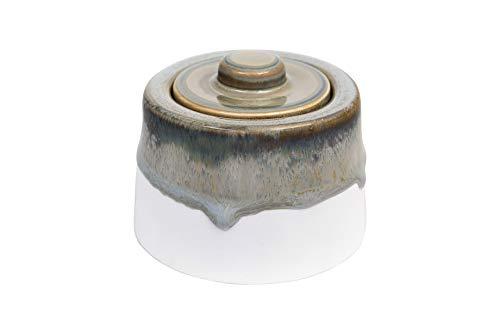 Creative Co-op Green, Blue & Brown Reactive Glaze Stoneware Matte Cream Bottom Sugar Bowl,