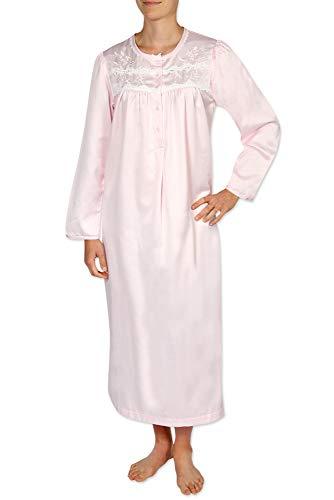Miss Elaine Women's Brushed Back Satin Long Nightgown Petal Pink -