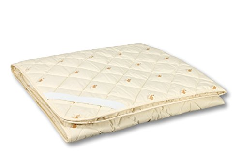 SAHARA Bed Mattress Topper/Protector with Bands, Camel Wool Filler, Quilted (Queen/King 79''x87'')