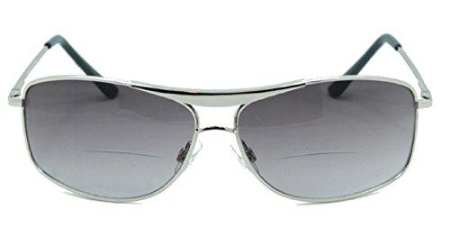 Unisex Aviator Bifocal Reading Sunglasses. Sun Reader Bifocal Glasses for Men and Women. Silver +2.00 (Carrying Case Included) (Discount Designer Sunglasses Online)