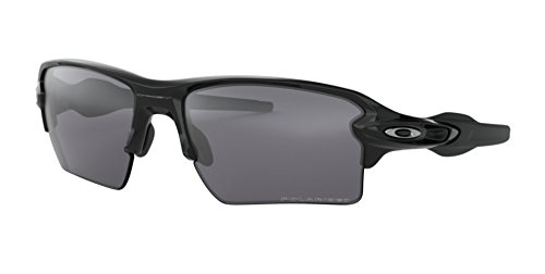 Oakley Men's OO9188 Flak 2.0 XL Rectangular Sunglasses, Polished Black/Black Iridium Polarized, 59 mm