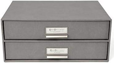 [Gesponsert]Bigso Box of Sweden Schubladenbox für Dokumente und Bürobedarf – Schreibtisch Organizer mit 2 Schubladen – Ablagesystem aus Faserplatte und Papier – grau
