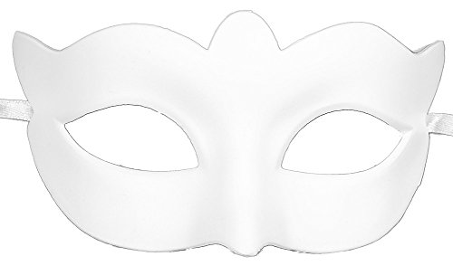 RedSkyTrader Mens Plain White Carnival Mask One Size Fits Most -