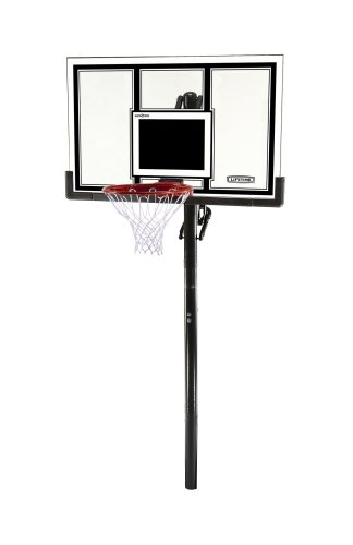 Lifetime 71525 Height Adjustable In Ground Basketball System, 54 Inch Shatterproof Backboard by Lifetime
