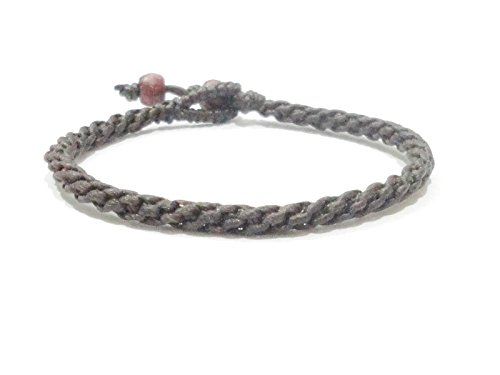 (Brown Men's Women's Braided Cotton Weave Handmade Thai Wristband Bracelet)