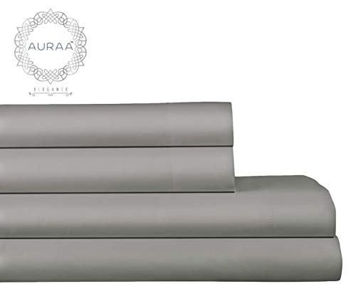 AURAA Elegance 800 Thread Count 100% American Supima Long Staple Cotton Sheet Set,4 Pc Set, King Sheets Sateen Weave,Hotel Collection Soft Luxury Bedding,Fits Upto 18 Deep Pocket,Charcoal