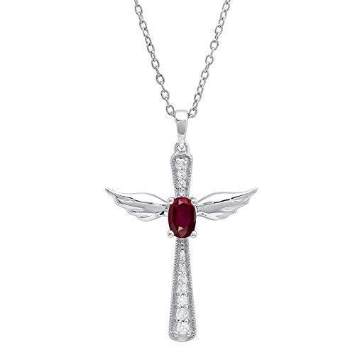 Dazzlingrock Collection 6X4 MM Oval Ruby & Round Diamond Angel Cross Pendant, Sterling Silver