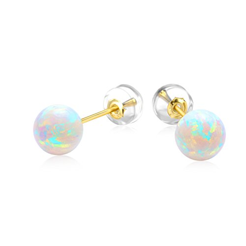 (18K Gold Earrings for Kids, Simulated Opal Gold Earrings for Girls, Gold Jewelry)