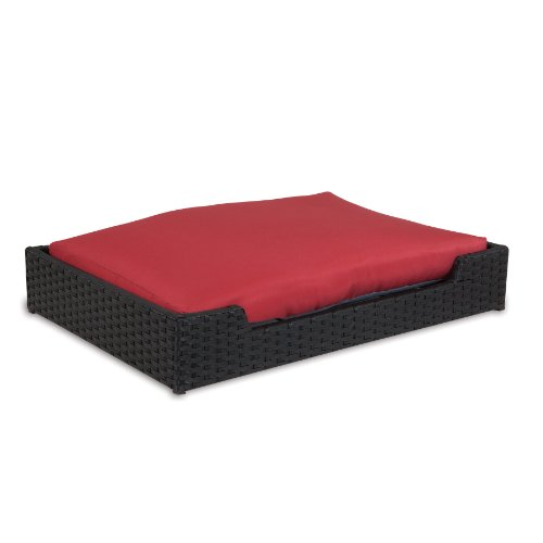Petmate Poly Wicker Rectangular Bed with Cushion, 29 by 20-I