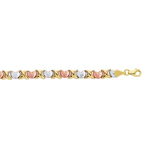 "14K YellowWhite Rose Gold Textured Tri Color Hugs Kisses Bracelet 7.25"" Long By IcedTime"