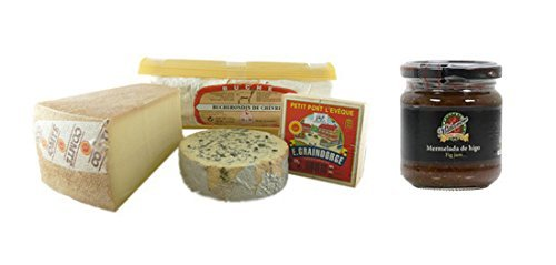 French Cheese Sampler, Connaisseur - 2 lbs + Fig Jam Mathambre, 220gr (Cheese Sampler French)