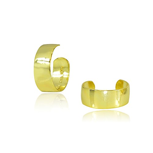 (Yellow Gold Flashed Sterling Silver High Polished Clip On Ear Cuff)