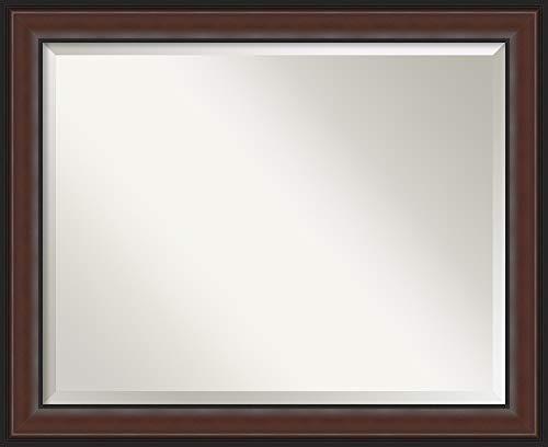 - Amanti Art Vanity Bathroom Harvard Walnut Frame | Wall Mounted Mirror, Glass Size 28x22,