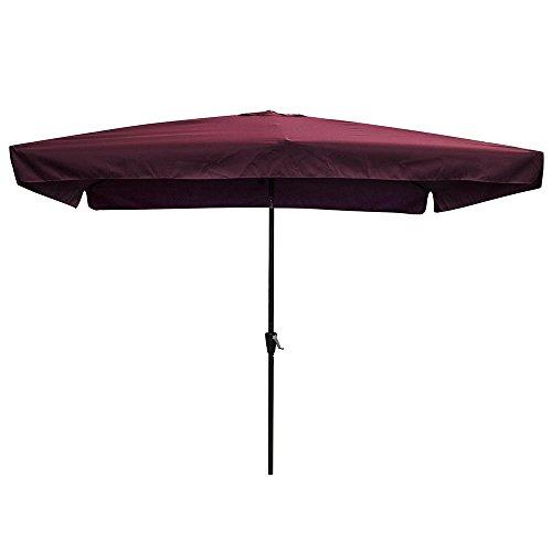 - Yescom 10x6.5ft (2x3m) Rectangle Aluminum Patio Umbrella w/Valance Sunshade Crank Tilt Market Garden Yard Wine Red