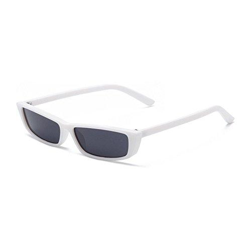 MINCL/Bold Small Sunglasses For Women Fashion Designer Rectangle Frame Shades (white-black) (Mens Designer Fashion)