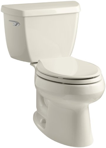 Kohler K-3575-47 Wellworth Classic 1.28 gpf Elongated Toilet with Class Five Flushing Technology and Left-Hand Trip Lever, Almond