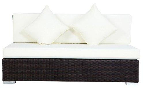 OUTFLEXX 2-Sitzer Mittelelement, braun, Polyrattan, 140x85x70cm, inkl. Polster und Kissen
