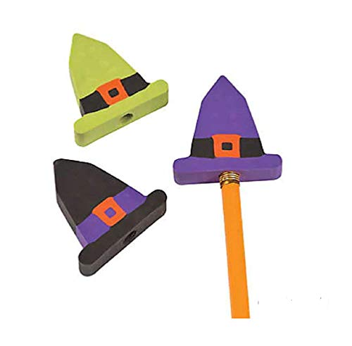 Witch Hat Pencil Top Erasers (24 Pieces)