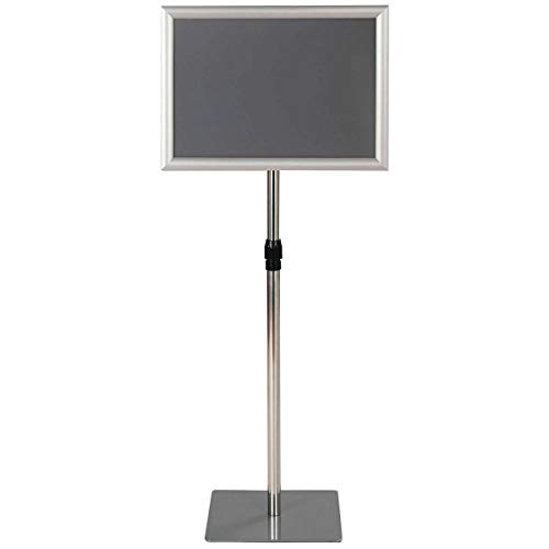 "11"" x 17"" Aluminum Floor Sign Holder Display Height Adjustable Pedestal Poster Stand w/Square Base - Silver with Ebook from NanaPluz"