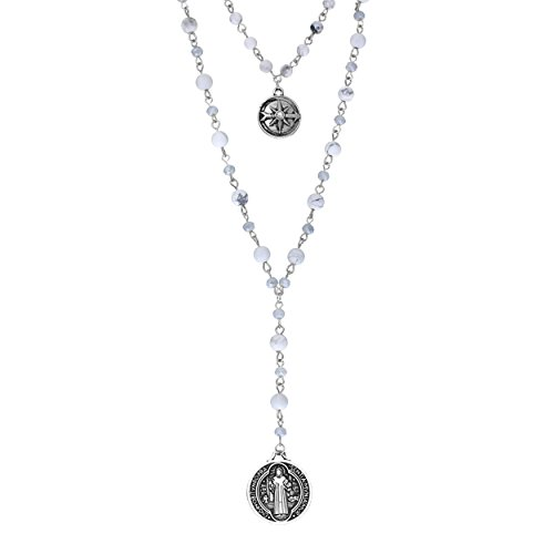 Rosemarie Collections Women's Beaded 2-Strand St Benedict Cross Pendant Necklace (Silver Tone/White)