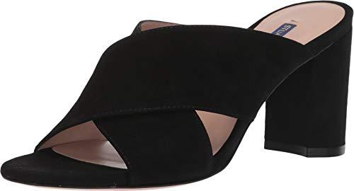 Stuart Weitzman Women's GALENE Sandal, Black Suede, 7.5 Medium US
