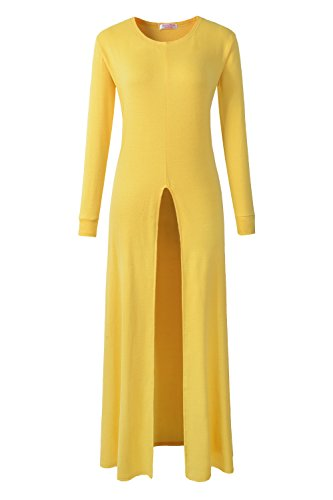 ARCITON Women's Long Sleeve High Front Split Long Maxi Dress Tops Yellow XL - Front Long Dress