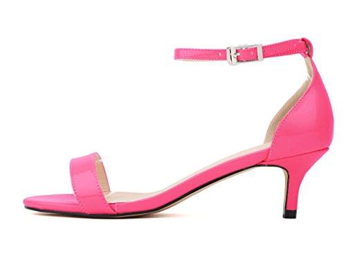 CAMSSOO Women's Open Toe Low Heel Ankle Strap Buckle Pumps Sandals PU-Fushia xnTbTRLs0Z