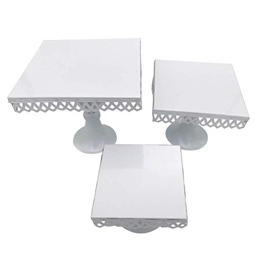 Set of 3 Square Cake Stand Metal Cupcake