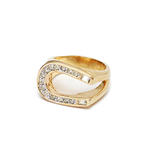 Providence Vintage Jewelry Clear Swarovski Crystals 18k Yellow Gold Electroplated Horseshoe - Ring 18k Mens Gold Electroplated