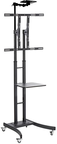 Displays2go Heavy Duty TV Stand, Mounts 32 to 84 Inch HDTV, Portable with Wheels, Shelf and Camera Tray (Black Steel)