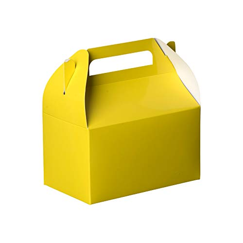 Hammont Yellow Colored Paper Treat Boxes -Party Favors Treat Container Cookie Boxes Cute Designs Perfect for Parties and Celebrations 6.25