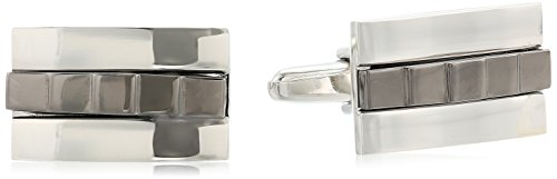 Stacy Adams Men's Rectangle Cuff Links with Horizontal Overlay, Silver/Gunmetal, One Size