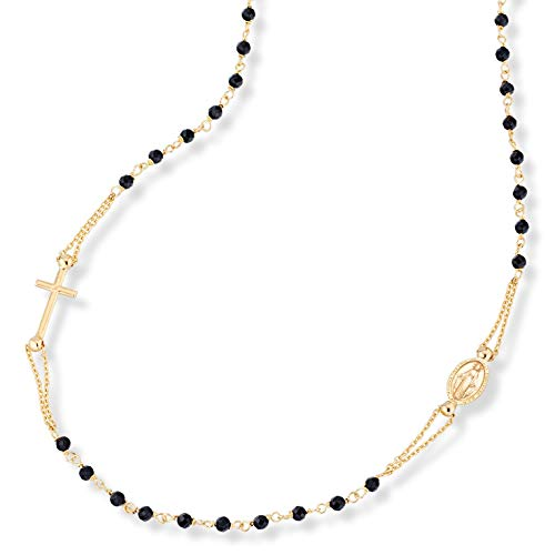 MiaBella 18K Gold Over Sterling Silver Handmade Italian Rosary Black Spinel Ball Beaded Sideways Cross Necklace, Link Chain 18, 20 Inch for Women Teen Girls 925 Italy (18)