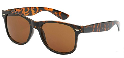 Sunglasses Classic 80's Vintage Style Design (Tortoise Brown)