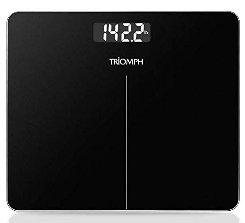 Triomph Upgraded Digital Body Weight Bathroom Scale, 400 Pounds, Jet Black