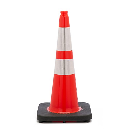 Orange Color JBC Safety Plastic RS70045SR3M64 Revolution Series 28 Traffic Cone Slim Line with 6 and 4 Reflective Cone Collars