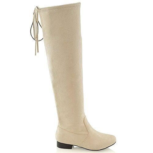 ESSEX GLAM New Womens Over The Knee Thigh HIGH Elasticated Ladies Flat Stretch Boots 3-8 Beige Faux Suede lhXZdbYE
