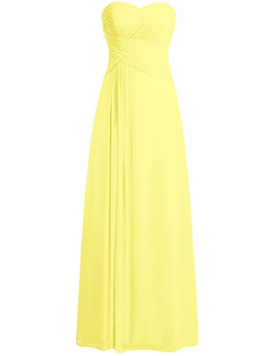 Bridesmaid Dress Prom Dresses Long Sweetheart Chiffon Evening Gown Pleat Strapless Yellow 3X